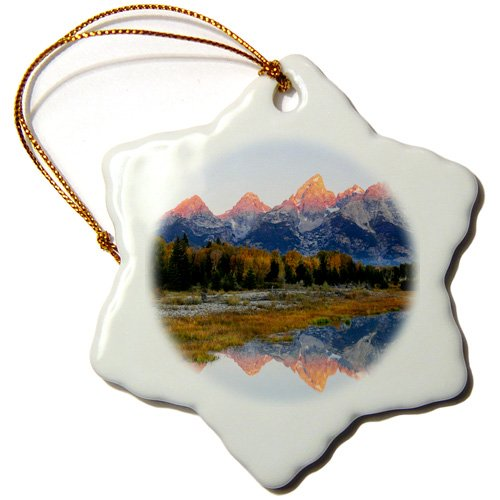 3dRose ORN_191645_1 Grand Tetons, Sunrise, Alpenglow, Grand Teton Np, Wyoming, USA Snowflake Ornament, Porcelain, 3-Inch