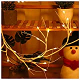 Pre-Lit Twig Led Wreath Lights, 6ft Battery Operated Christmas Curtain Lights, DIY Birch Vines Lights With 48 Warm White Lights for Christmas Patio Garden Party Bedroom Indoor & Outdoor Decoration