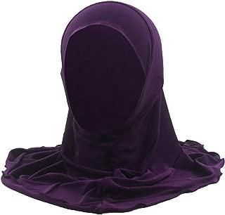 Yuege Girls Kids Muslim Hijab Scarf Shawls Beautiful Lace Snow Pattern Islamic Hijabs Headscarves