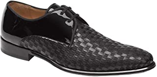 Mezlan Sexto Mens Luxury Dress Shoes - Black Formal Blucher Oxfords with Leather Sole - Woven Calfskin and Fabric Vamp - Handcrafted in Spain - Medium Width