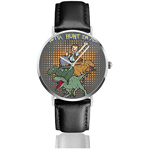 Unisexe Gotta Hunt Them All Owen Jurassic World Velociraptor Monster of The Pocket Watches Montre en Cuir à Quartz avec Bracelet en Cuir Noir