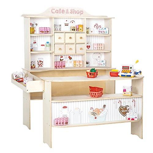 roba Kaufladen Café & Shop inklusiv über 100-teiliges Kaufladenzubehör und elektronischer Kasse, Holz natur, Verkaufsstand 6 Schubladen, Natur & Weiß