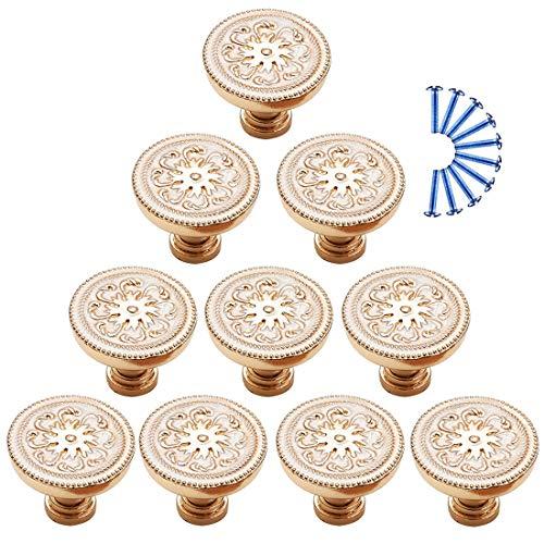 Bataop Bataop 10Pcs Möbelknöpfe Antik, Vintage Möbelgriff Gold Türknöpfe Schrankknöpfe Griff Knopf für Schrank, Kleiderschrank, Schublade