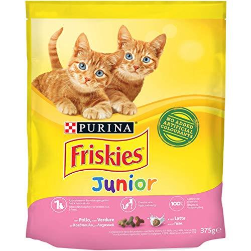 Purina Friskies Crocchette Gatto Junior con Pollo, Latte e Verdure Aggiunte, 12 Sacchi da 375 g Ciascuno