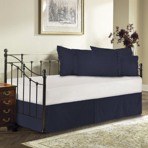 Harmony Lane Day Bed Tailored Bedskirt With 18'' Drop , Navy Sateen stripe Bedskirt ( Available in 12 Colors)