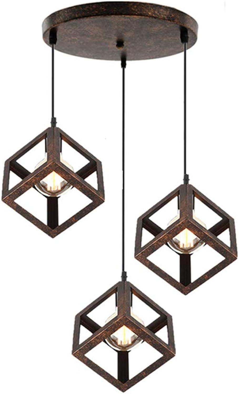 BERGHT Pendel-Leuchte Decken-Leuchte aus Metall Wohnzimmer Leuchte Kfig Hngelampe Retro mit Kabel Vintagelampe E27 für Wohnzimmer Küche Büro Praxis (3-Flammig),A