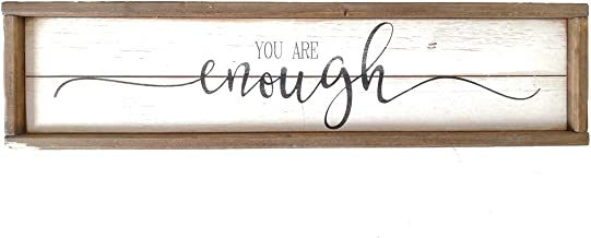 Parisloft You are Enough White Background Wood Framed Wood Wall Decor Sign Plaque 23.6 x 1.2 x 6 inches (You are Enough)