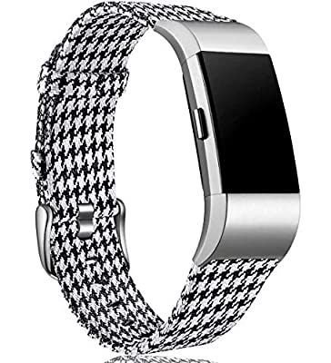 Maledan Bands Compatible with Charge 2 and Charge 2 HR Fitness Activity Tracker for Women Men, Durable Woven Fabric Watch Band Replacement Accessories Strap Wristband, Small, Black/White Plaid
