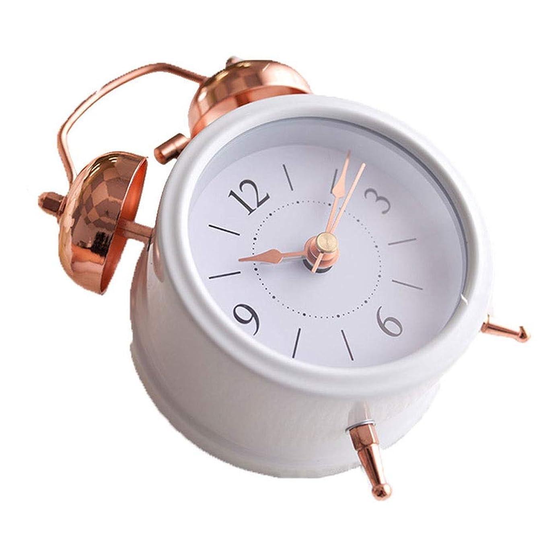 机残酷百年レトロな目覚まし時計シンプルなクリエイティブミュートデジタル学生ベッド小さな目覚まし時計金属材料 (Color : White)