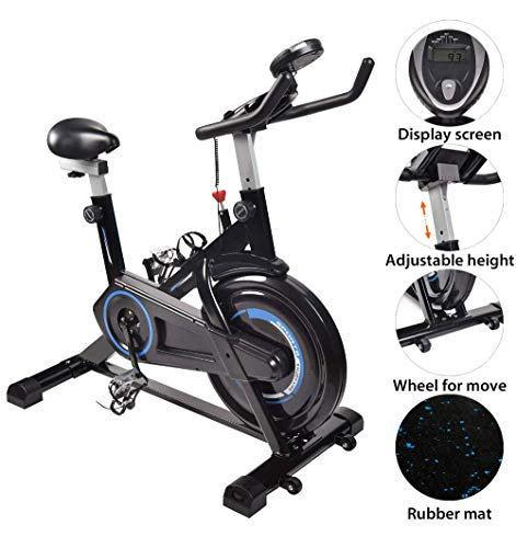 FULLWATT Exercise Bike Indoor Cycling Bike Stationary Spin Belt Drive with Exercise Mat LCD Digital Monitor and Adjustable Bicycles Workout Bike with Ipad Mount for Home Gym