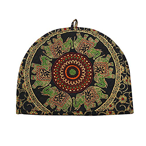 Indian Cotton Mandala Green Printed Tea Cosy Elephant Printed Abstract Tea Pot Décor Cover Traditional Tea Quilt Floral Warmer Tea Cozies Insulated Gift