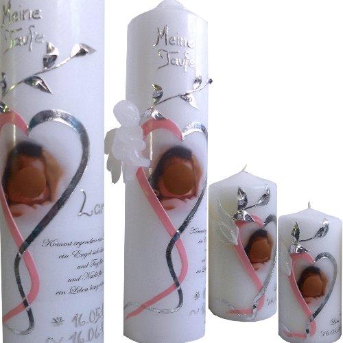 Taufkerze 250x60 Mädchen Junge Herz Engel mit Foto Taufspruch Ihres Kindes Mit Namen und Datum Mit 2 PATENKERZEN rosa silber ITP02