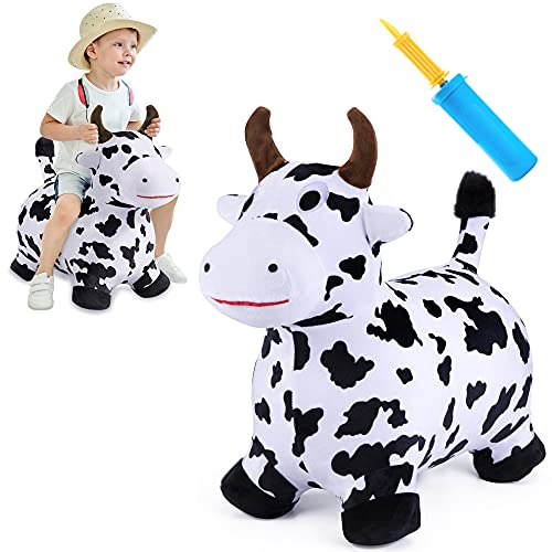 iPlay  iLearn Bouncy Pals Cow Hopping Horse  Outdoor Ride On Bouncy Animal Play Toys  Inflatable Hopper Plush Covered with Pump  Activities Gift for 18 Months 2 3 4 5 Year Old Kids Toddlers Boys Girls