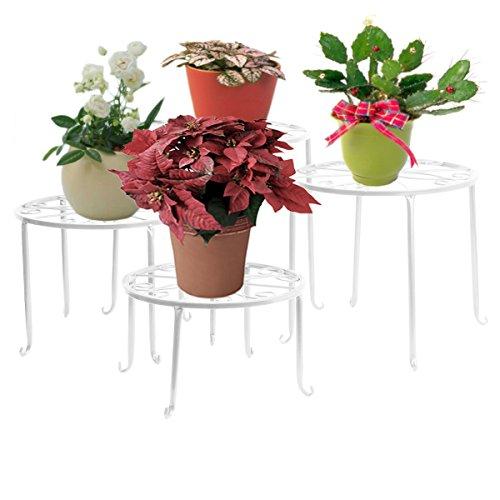 Blumenständer 4-in-1 Set, Blumenhocker aus Metall, dekorativ für Garten/Terrasse (Weiß)