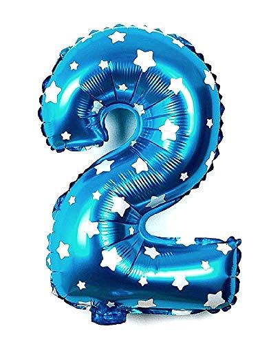 Ballonleeftijd - ballon - nummer 2 - hoogte 35cm - lichtblauwe kleur - sterren - verjaardag - nieuwjaar - feest - decoraties - gevierd