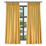 ChadMade Cortina Lino Opacas con Pellizcar Plisado para Sala, 127 x 183 cm Cortina Naranja Textura de Mezcla de Lino para Ventanas (1 Panel)