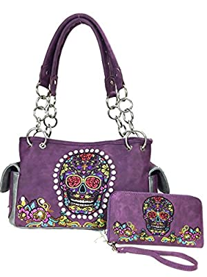 Zzfab Concealed and Carry Purse Sugar Skull Purse and Wallet Set Purple