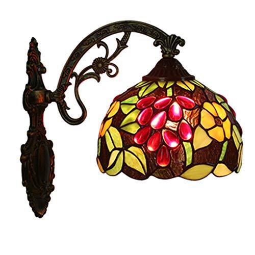 MTTK Vintage Style Tiffany Mur Lampe Jardinage Raisin conçu Verre Mur lumière intérieur éclairage 20 * 36CM