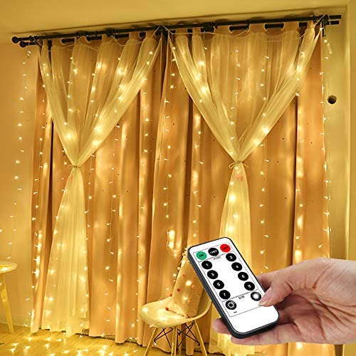 String Lights Curtain,USB Powered Fairy Lights for Bedroom Wall Party,8 Modes & IP64 Waterproof Ideal for Outdoor Wedding Decor (White,7.9Ft x 5.9Ft)