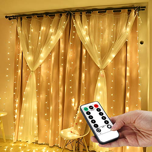 YEOLEH String Lights Curtain,USB Powered Fairy Lights for Party Bedroom Wall,8 Modes & IP64 Waterproof Ideal for Outdoor Thanksgiving Chrsitmas Home Decorations (Warm White,7.9Ft x 5.9Ft)