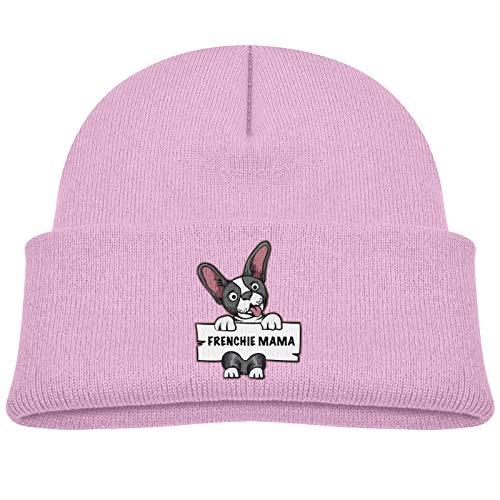 Fxshunone Frenchie Mama French Bulldog Baby Beanies Cozy Chunky Hat Cap Pink