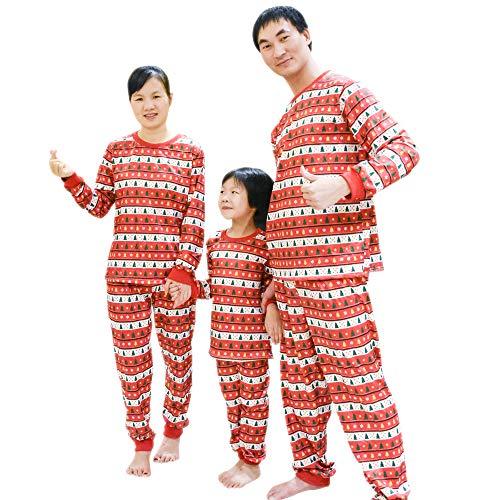 BOZEVON Famiglia Due Pezzi Pigiama - Corrispondenza di Natale di Pigiama per Mamma papà Bambini, Rosso-Bambini, Tag 5T