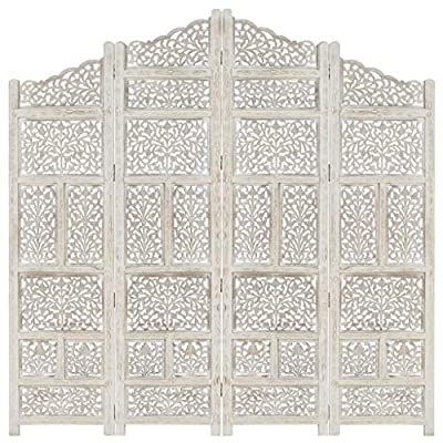 Material: MDF y madera maciza de mango con acabado blanco Dimensiones: 160 x 165 cm (ancho x alto) Con patrones tallados a mano