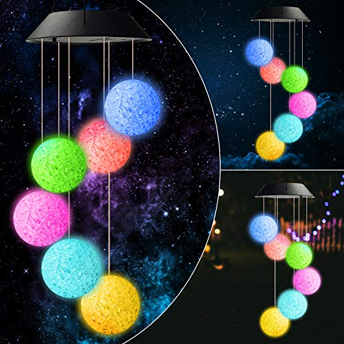 Urban Deco Solar Wind Chimes Color Changing Mobile LED lights for Outdoor, Waterproof Garden Decorative Ornaments for Yard, Patio, Home, lights Solar String Lights for Gifts (Balls)