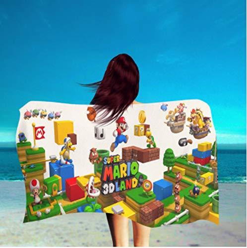 chinawh Dibujos Animados Super Mario Bros Toalla de baño Toallas de baño Regalo para niños Toalla de Playa Toalla de Microfibra Ducha Toalla de natación 70x140cm