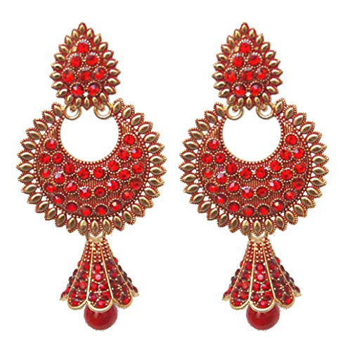 Pahal Traditional Jadau Red Pearl Painted Long Gold Jhumka Earrings Indian Bollywood Bridal Jewelry for Women