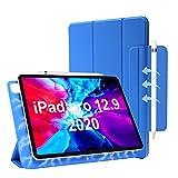 iPad Pro 12.9 ケース 2020 TOOUTO iPad Pro 12.9 ケース 第四世代 磁気吸着式  オートスリープ 留め具付き 3つ折りスタンド 超薄型 防水 シルク手触り 高級感 全面保護 傷つけ防止 ipad pro 12.9 2020 カバー