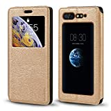 ZTE Nubia X Case, Wood Grain Leather Case with Card Holder