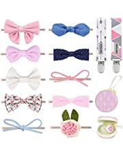 Dodo Newborn Hair Bows – Set of 10 Girl Colorful Hair Bows with Pacifier Clips and Case Excellent Baby Shower/Registry Gift