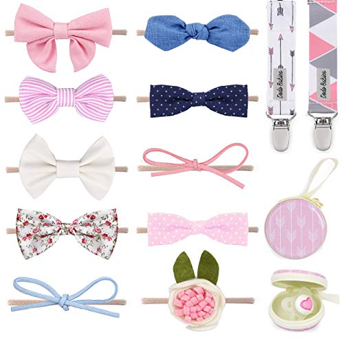Dodo Newborn Hair Bows – Set of 10 Girl Colorful Hair Bows with Pacifier Clips and Case Excellent Baby Shower/Registry Gift (Apparel)