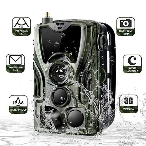 jpkoekw 3G Wildkamera Mit Bewegungsmelder Nachtsicht HandyüBertragung 16MP 1080P Full HD Fotofallen GSM Jagdkamera 120 ° Weitwinkelobjektiv 44IR LED IP66 Wasserdicht für Jagd, Garten und Tieren