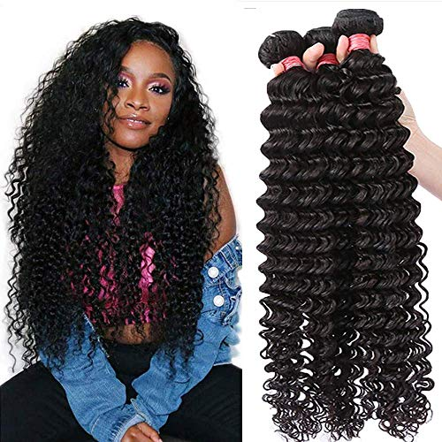 Dinoce Compatible with Longqi Brazilian Natural Wave 3 Bundles Virgin Hair 20 18 16 Inch, 10A Unprocessed Remy Human Hair Weave Natural Looking Wavy for Black Women (300g, Natural Color, 16 18 20)