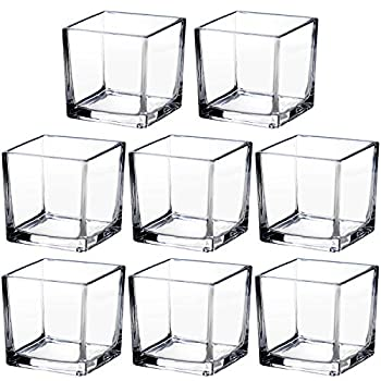 Square Glass Vase Clear Flower Decorative Centerpiece for Home or Wedding 2.5  x 2.5  Set of 8