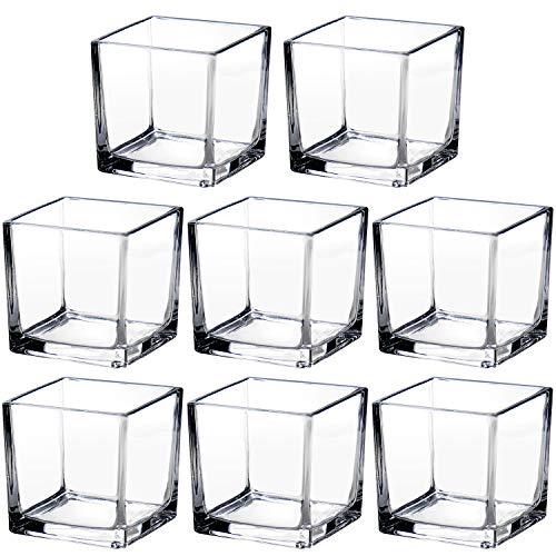 Set di 8 vasi quadrati in vetro trasparente da 6 cm, centrotavola decorativi a forma di cubo, per decorazioni per la casa, feste di nozze, piante grasse e terrario