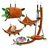 5-Pack Hamster Cage Accessories Toys, AXUAN Ferret Hammock Set for Cage, Small Animals Pet Jungle Kit Includes Stump Tunnel Cableway Circular Swing, Perfect for Sugar Glider Squirrel Rat