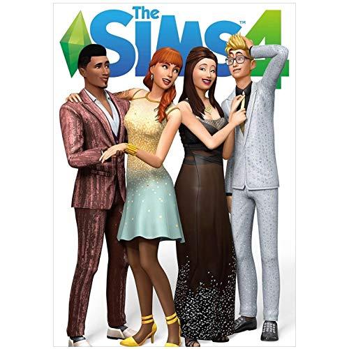 wzgsffs The Sims 4 Poster Pc Xbox Póster E Impresiones Arte De La Pared Impresión En Lienzo para La Sala De Estar Decoración del Dormitorio del Hogar-20X28 Pulgadas X 1 Sin Marco