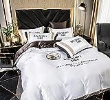 juego de funda nórdica cama 90,Ropa de cama de la cubierta del edredón de verano, hoja ajustada - Lecho de seda de bolsillo profundo Seet, transpirable suave y cómodo: arruga, Fade.-A_1,8 m de cama (