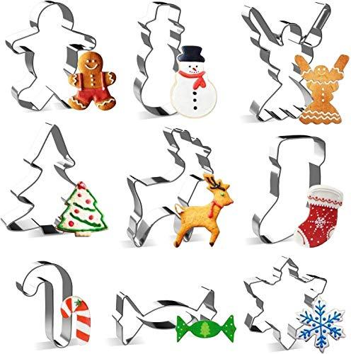 joyoldelf Cortadores de Galletas de Navidad, 9PCS Moldes de Galletas, Forma de Reno, Muñeco de Nieve, Árbol de Navidad, Copo de Nieve, Hombre de Jengibre, Dulces, Muleta, Ángel, Calcetín