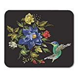 Nakamela Mouse Pads Colorful Embroidery Pattern with Hummingbird and Exotic Flowers Embroidered Floral with Bird on Black Mouse mats 9.5' x 7.9' Mouse pad Suitable for Notebook Desktop Computers
