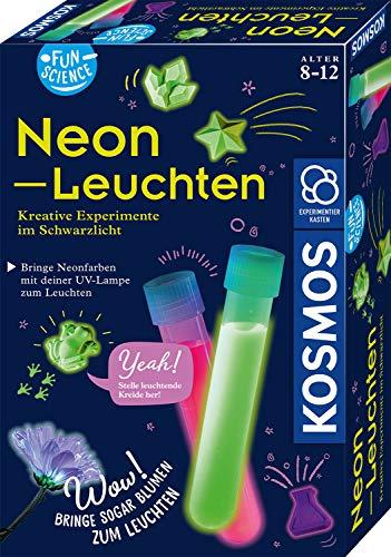 Kosmos 654191 Fun Science - Neon-Leuchten, Kreative Experimente im Schwarzlicht, Experimentier-Set für Kinder ab 8 Jahre