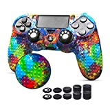 PS4 Controller Skin- 6amLifestyle PS4 Controller Cover with Anti-Slip Studded Dots, Water Printing, for Sony PS4/Slim/Pro Dualshock 4 Controller x 1(Splashing Yellow) with Thumb Grips x 10