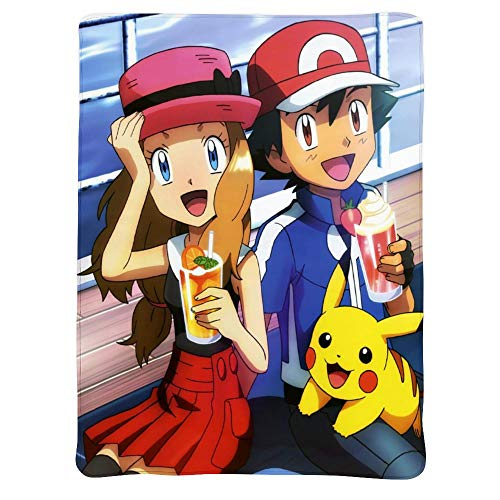 MEW Anime Poke-mon Lightweight Blankets, Pikachu Diancie Ash, Soft Cozy Warm Cute Flannel Fleece Throw Blanket for Adult and Kids,Living Room Bedroom Study Couch Bed and Beach Travel,50x40 inches