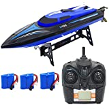 Blomiky H100 2.4GHz 4CH 20MPH High Speed Racing RC Boat Remote Control Boat Extra 2 Battery TKKJ H100 Ship Blue