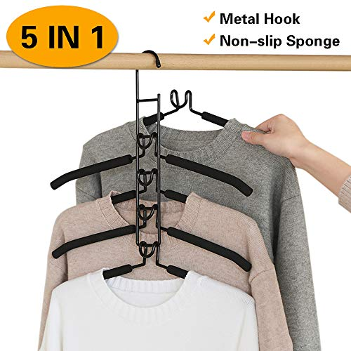 YIFKOKO Kleiderbügel, Metall Kleiderbügel Multi-Felsen 5 in 1 Multilayer Eva Schwamm Anti-Rutsch Platzsparende für Erwachsene Jeans Shirts Hosen Mäntel (Schwarz)
