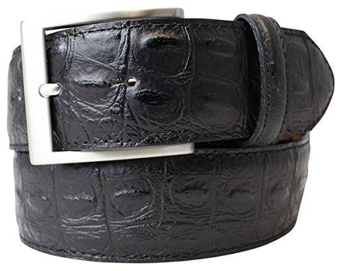 Gürtel mit Krokoprägung 4 cm   Leder-Gürtel für Damen Herren 40mm Kroko-Optik   Kroko-Muster 4cm   Schwarz 110cm