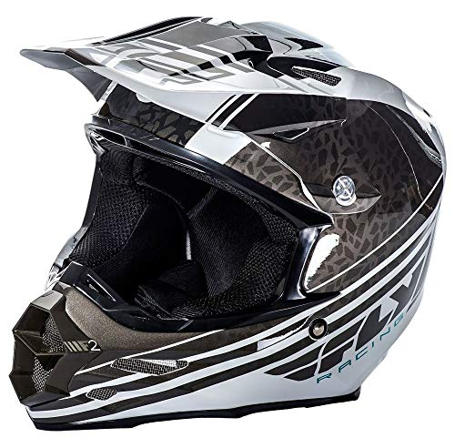 FLy Racing 2017 Casco Motocross/MTB - F2 Carbon Animal - Nero-Bianco, Nero, Manica Bianca, XL